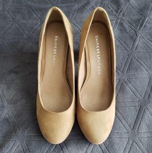 Tan round toe block heels